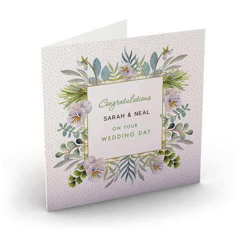 buy personalised wedding card botanical congratulations