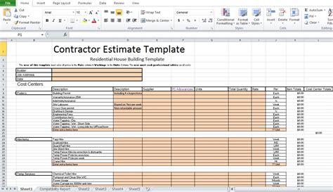 construction estimate template excel free contractor estimate template excel excel tmp