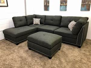 0 in stockn753r 250 down black linen studded linen With sectional sofa 250