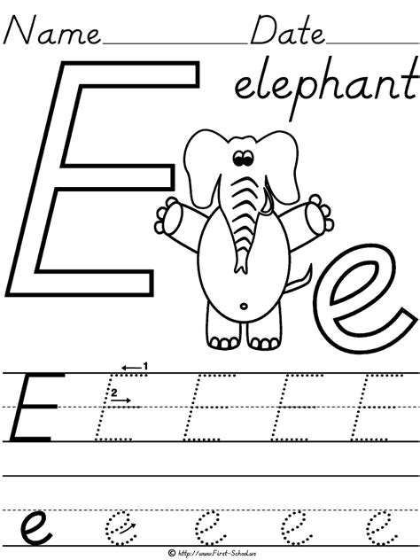 14 best images of e letter identification worksheets