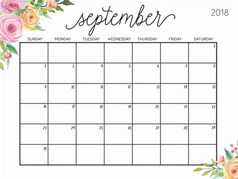 september  floral calendar september september