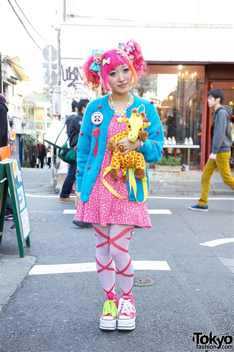 kumamiki s pink orange hair sweet accessories platforms in harajuku