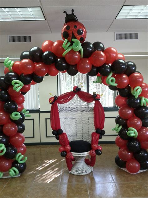 Ladybug Theme Baby Shower Party Mother Wicker Chair With