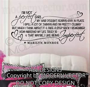 Marilyn monroe quote vinyl wall decal i m not a perfect