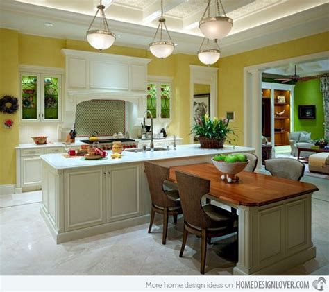kitchen island with attached table 15 beautiful kitchen island with table attached ideas 8233