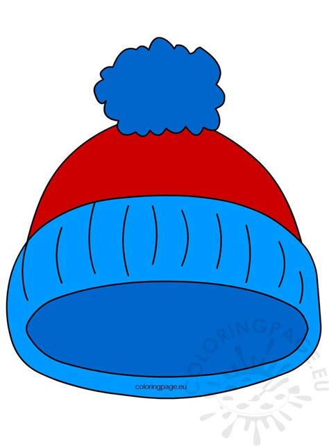 blue pom pom winter hat coloring page