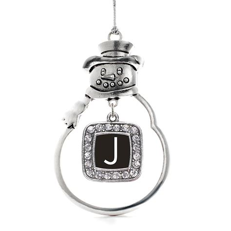 initials letter  classic snowman holiday ornament