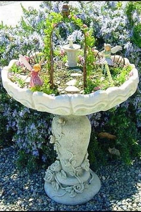 remake bird bath into garden garden landscaping
