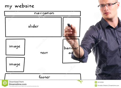 man drawing website wireframe stock photo image  draw