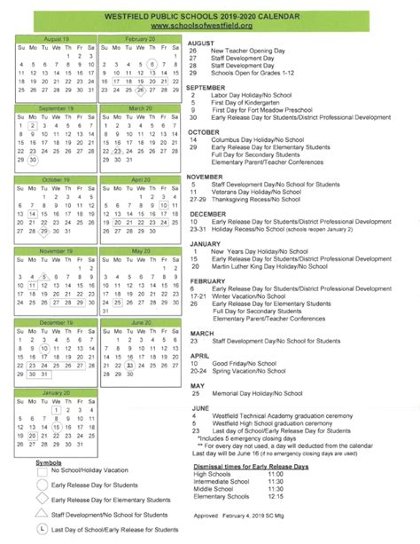 school calendar westfield public school district