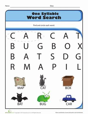 one syllable word search worksheet education com