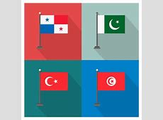 Panama Pakistan Turkey and Tunisia Flags Vector Free