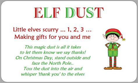 Elf Dust Labels Stickers Christmas Fun Kids Cute Novelty
