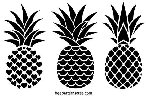printable  pineapple silhouette vectors freepatternsarea