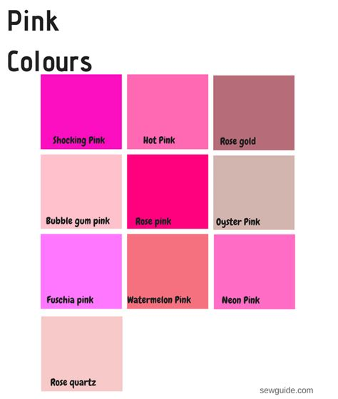 pink color names color names in fashion design an easy reference guide