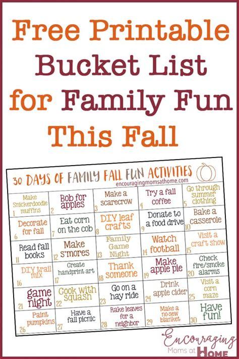 FREE 30 Fall Family Fun Ideas Printable List Free