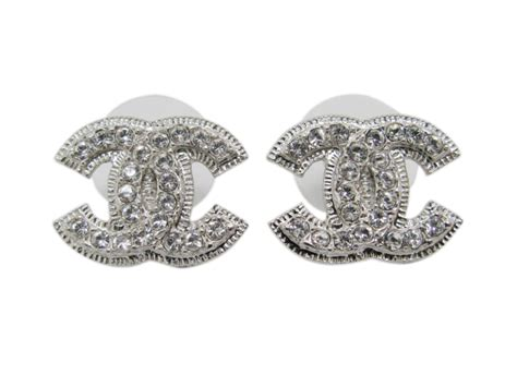 chanel double cc logo crystal stud earrings
