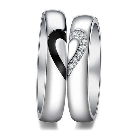 love heart sterling silver couple wedding bands matching