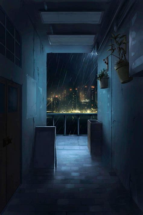 On our website you will find everything for a beautiful steam profile design! Corridor at night illustration #art #digitalart # ...