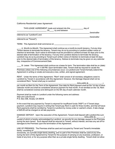 california residential lease agreement  word   formats