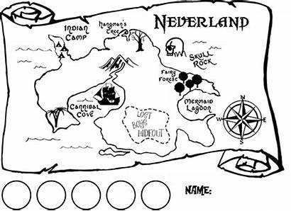 Map Neverland Treasure Clipart Coloring Pirate Pages