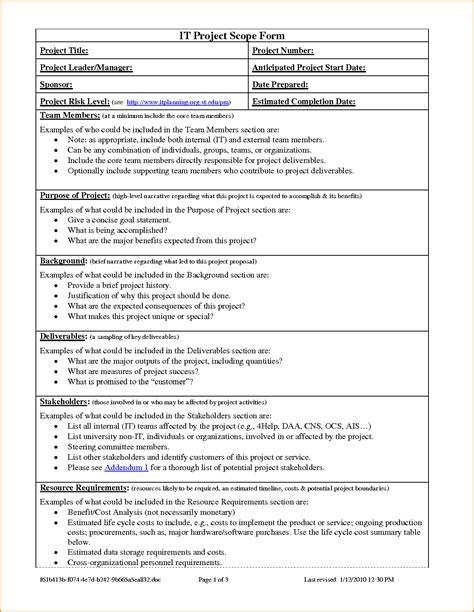 scope document project scope statement template project scope template