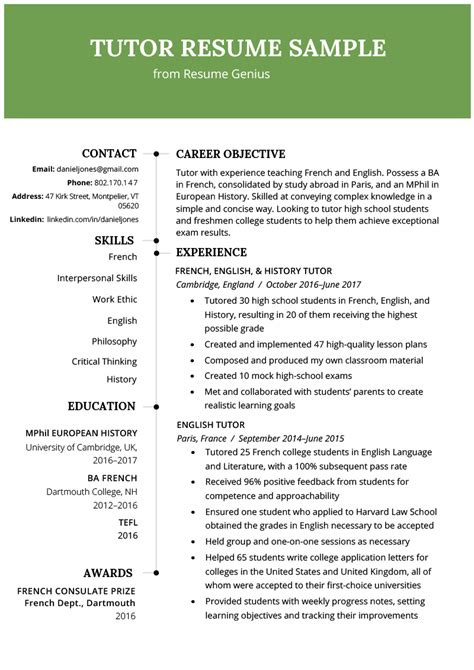Tutoring Resume by Tutor Resume Sle Writing Tips Resume Genius
