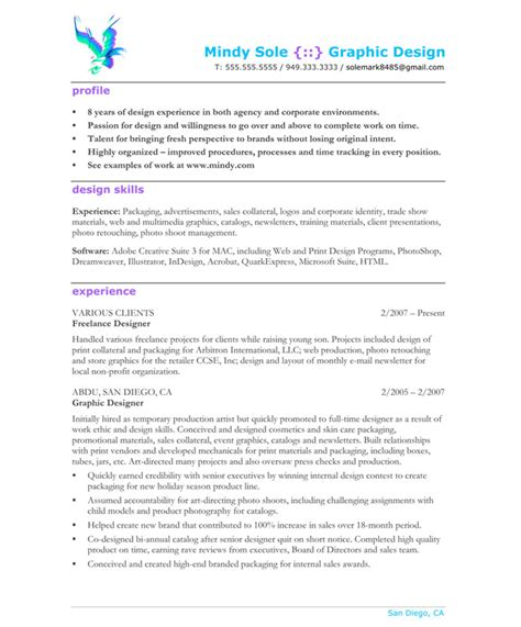 Graphic Designer Experience Resume Format by Graphic Designer Free Resume Sles Blue Sky Resumes