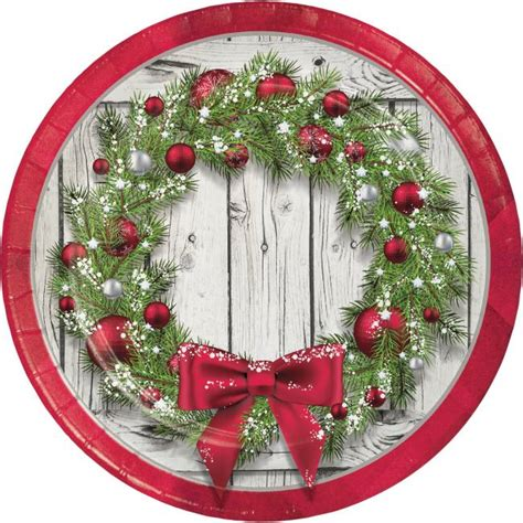 rustic christmas wreath   plates party  lewis
