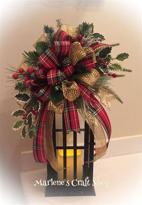 christmas lantern swag red gold  green ribbon