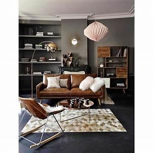 canape 3 places en cuir marron cognac salons living With canapé faux cuir