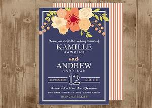 printable navy and coral peach wedding bridal shower invite With evening wedding invitations vistaprint