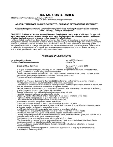 E Resume Sles by Dontarious Usher Resume Sales Professional 2016