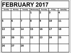 February 2017 Calendar Template Calendar And Images