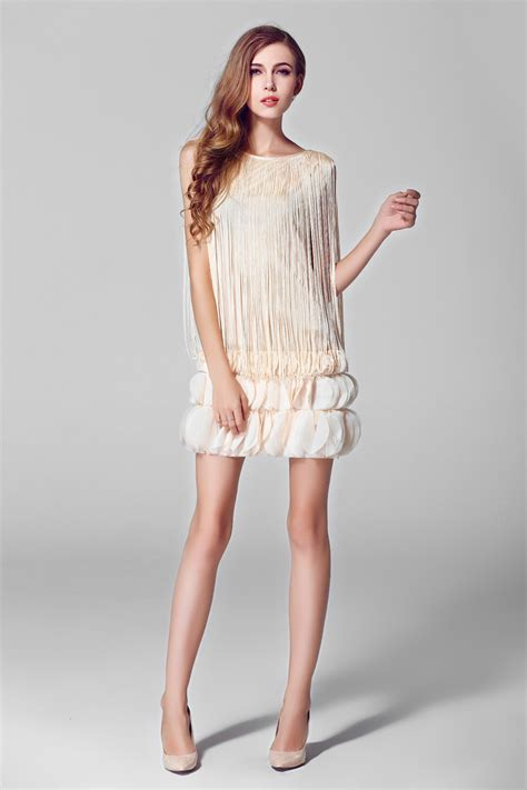 apricot color dress 2014 club style dress solid color sleeveless tassel