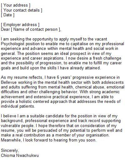 psychologist covering letter sle