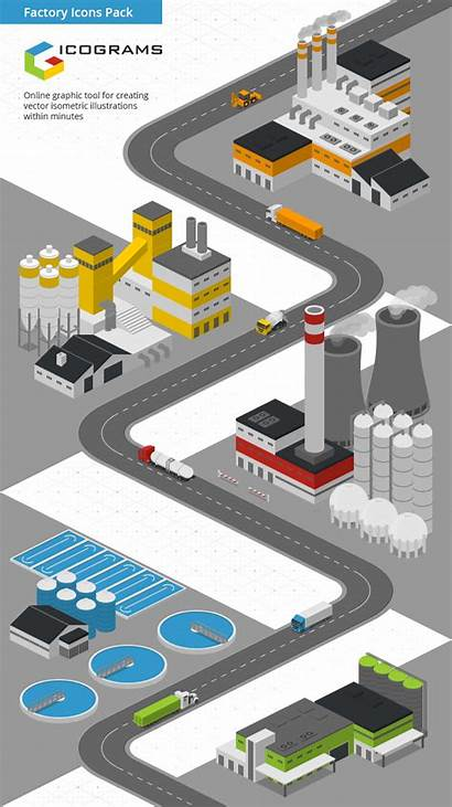 Isometric Factory Icograms Templates Illustration Factories Illustrations