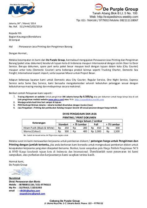 Contoh Surat Biaya Jasa Pengiriman Barang by Penawaran Kerjasama