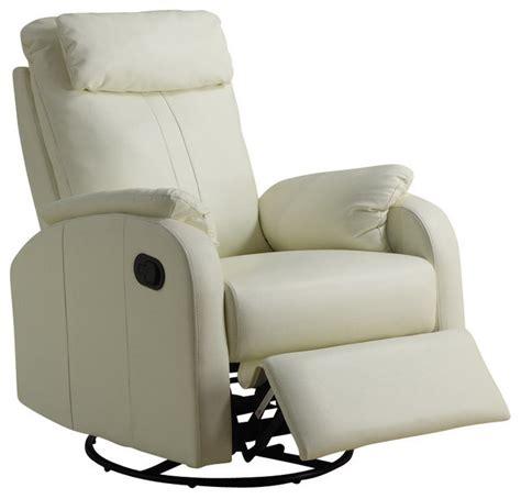 monarch specialties swivel rocker recliner chair in ivory