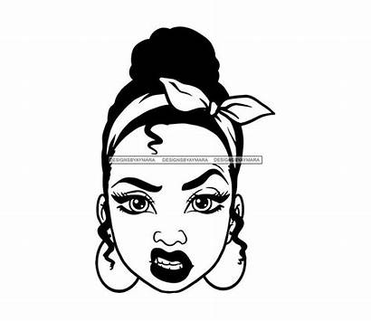 Svg Face Mean Woman Bun Headband Afro