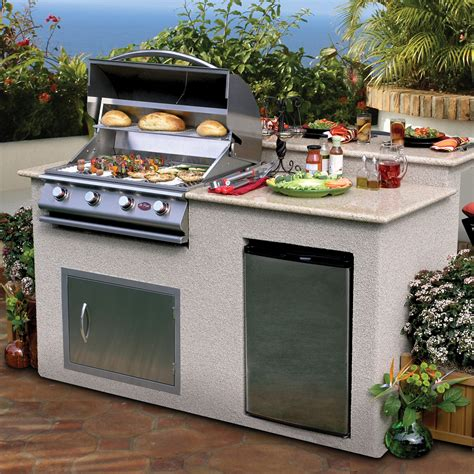 cal flame  ft bbq island  granite top gas grill