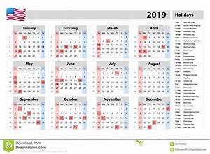 Começos Simples Segundafeira Do Calendário Do Vetor 2019