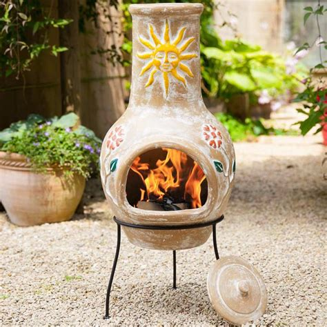 Chiminea On Sale - la hacienda sun flower clay chiminea large 94cm on sale