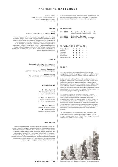 Architectural Intern Resume Exles by Architect Cv Cv Resume Templates Exles