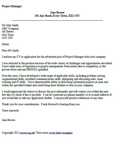 Cover Letter For Project Manager Application by Project Manager Cover Letter Exle Career Tips And
