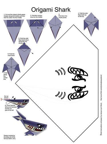 Printable Origami Shark With Pattern Steps