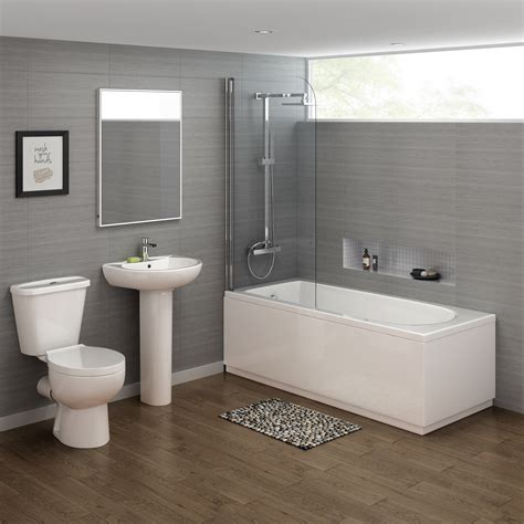 1700x700mm Crosby Straight Shower Bath Suite