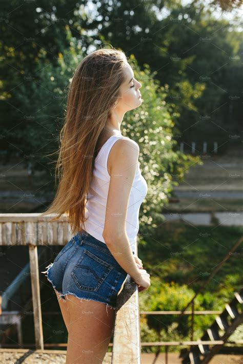 young beautiful girl posing people  creative market