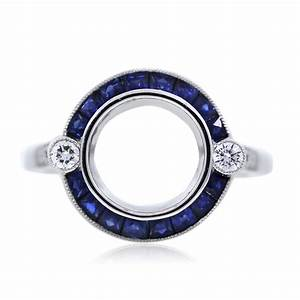 platinum sapphire and diamond bezel set engagement ring With wedding ring settings mountings