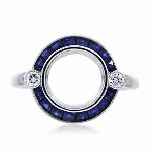 platinum sapphire and diamond bezel set engagement ring With bezel wedding ring